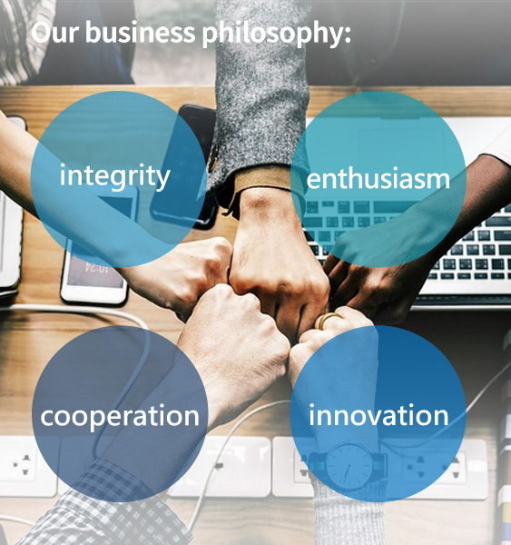 Our business philosophy: integrity, cooperation, enthusiasm, and innovation.